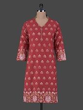 Block Printed Quarter Sleeves Cotton Kurta - Aamii