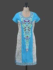 Blue Embroidered Kurta With Paisley Print - Paislei