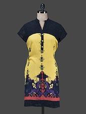 Yellow Printed Short-sleeved Kurti - Paislei