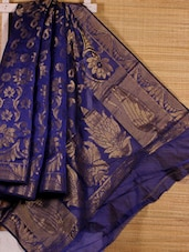 Royal Blue Floral Art Silk Saree - Dharitri's Choice