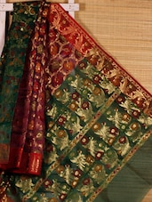 Multicoloured Floral Patterned Art Silk Saree - Dharitri's Choice