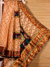 Beige Floral Patterned Art Silk Saree - Dharitri's Choice