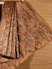 Brown Kantha Stitch Art Silk Saree - Dharitri's Choice