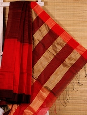 Red Cotton Silk Handloom Saree - Dharitri's Choice