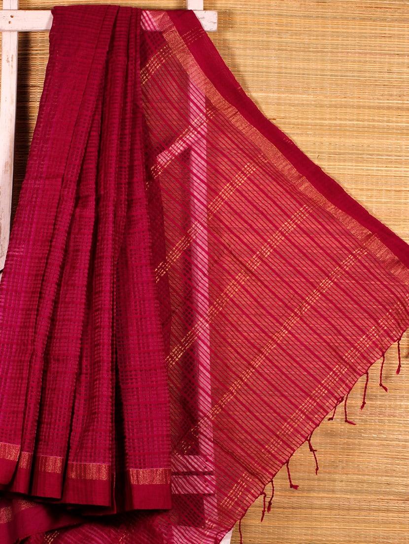 Wine Cotton Silk Handloom Saree - Dharitri's Choice