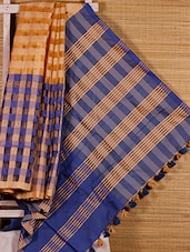 Blue And Beige Chequered Handloom Saree - Dharitri's Choice