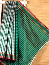 Green And White Chequered Handloom Saree - Dharitri's Choice