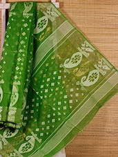 Parrot Green Cotton Silk Jamdani Saree - Dharitri's Choice