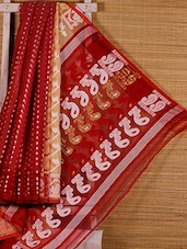 Red Patterned Cotton Silk Saree - Dharitri's Choice