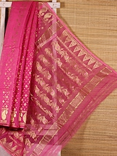 Pink Floral Cotton Silk Saree - Dharitri's Choice