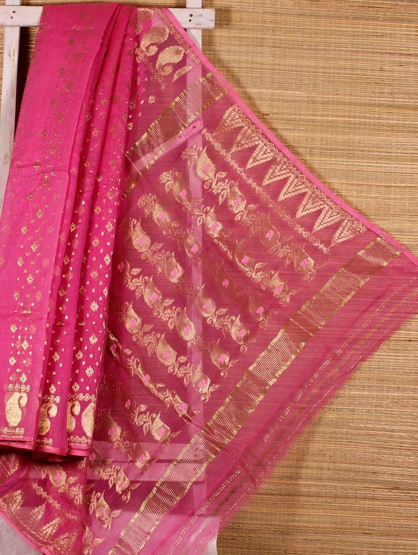 Pink Floral Cotton Silk Saree - Dharitri's Choice