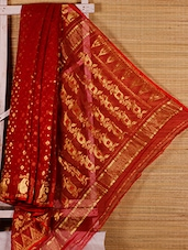 Red Floral Cotton Silk Saree - Dharitri's Choice
