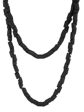 Black Beaded Long Necklace - Voylla