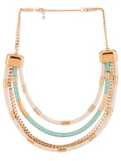 White And Gold Layered Statement Necklace - Voylla