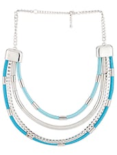 Silver And Blue Layered Statement Necklace - Voylla