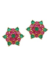 Ruby Emerald Cluster Stud Earrings - Affinity