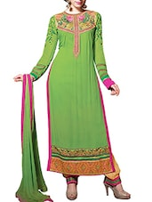Stunning Green Pure Georgette Straight  Dress Material - By