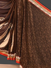 Brown Embroidered Jacquard Saree - Style Mania