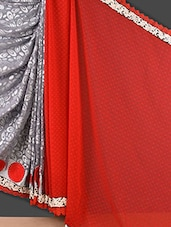 Red And Grey Embroidered Brasso Saree - Style Mania
