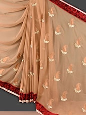 Beige Paisley Embroidered Chiffon Saree - Style Mania