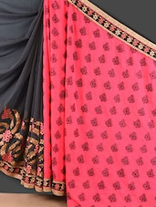 Dark Grey And Pink Embroidered Jacquard Saree - Style Mania