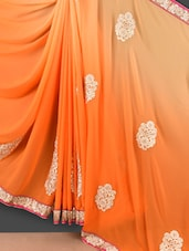 Shaded Orange Floral Embroidered Georgette Saree - Style Mania