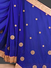 Royal Blue Embroidered Chiffon Saree - Style Mania