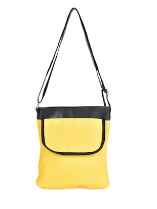Yellow Cotton Canvas Sling Bag