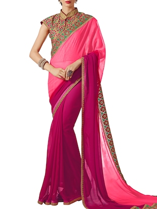Pink Georgette Ombre Saree
