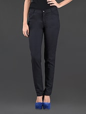 Plain Solid Black Tapered Cotton Trouser - Colbrii