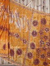Yellow Floral Print Georgette Saree - Raga