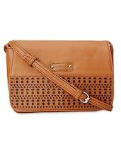Textured Brown Cutwork Detailed Sling Bag - Peperone