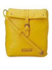 Textured Yellow Faux Leather Sling Bag - Peperone