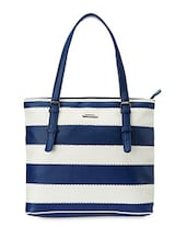 Blue And White Striped Faux Leather Tote - Peperone