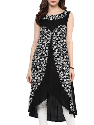 black rayon high low kurta