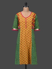 Printed Three Quarter Sleeves Cotton Kurta - Taaga - 1120243