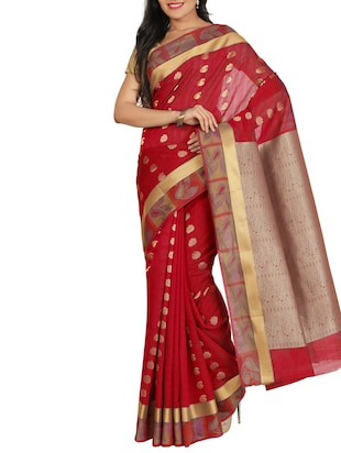 red silk blend saree