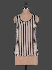 Sleeveless Stripped Poly Georgette Top - Wildrose