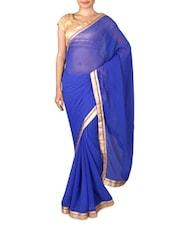 Royal Blue Chiffon Saree With Gold Border - By