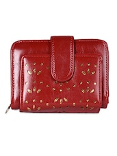 Red Cut-work Leatherette Wallet - Hotberries