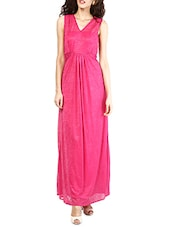 Fuchsia Lace Back Yoke Polyester Gown - MARTINI