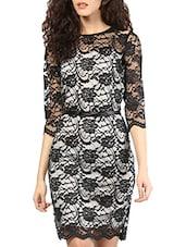 Black & White Lace Bodycon Dress - MARTINI