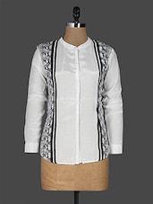 White Art Silk Long Sleeve Shirt - EWA Women