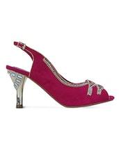 Pink Crystal Embellished Peep Toes Heel Sandals - GET GLAMR