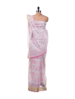 Crisp Cotton Saree With Warli Fusion Print In Purple And Pink - ROOP KASHISH
