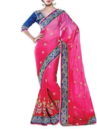 pink satin embroidered saree with blouse