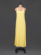 Cami Neck Solid Yellow Maxi Dress - Femella