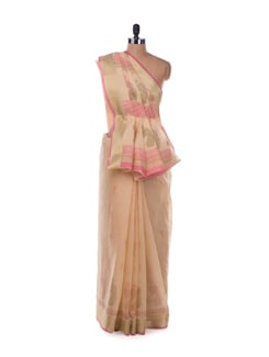 Elegant Beige And Pink Saree - ROOP KASHISH