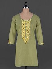 Quarter Sleeves Embroidered Neck Green Kurta - BBG