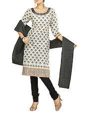 Quarter Sleeves Block Printed Cotton Suit Set - Diva